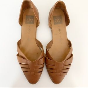 DV Dolce Vita Pointed Toe Brown Leather Flats 8